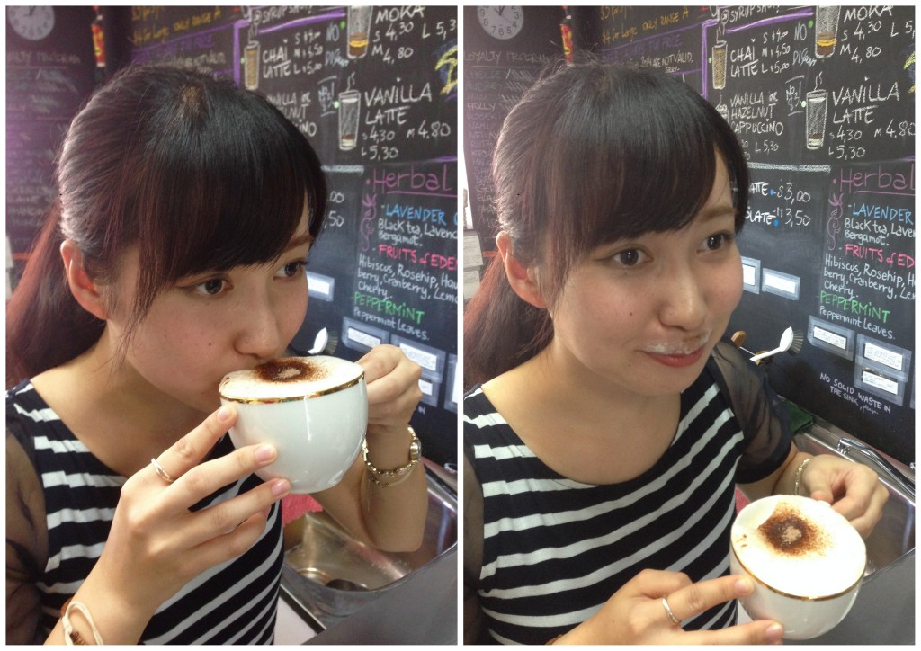 Masayo's trying her first cappuccino :-)